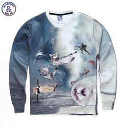 Wholesale Galaxy Cats Sweatshirts - Hip Hop Hoodie Space galaxy hoodies Men Women autumn winter thin style print many cats 3d sweatshirts Asia size S-XXL