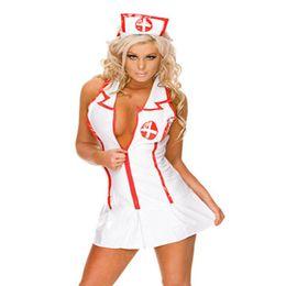 Sombrero sexy online-Mujeres Enfermera de la tentación uniforme conjuntos de ropa interior atractiva del club del partido de Cospaly Señora íntimo profundo escote en V sin mangas de cuello del sombrero mini vestido de pijama conjunto