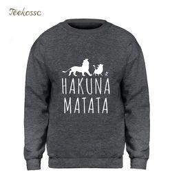 Rey león sudadera con capucha online-The Lion King Hoodie Men Hakuana Matata Sudadera Diseño gráfico Sudaderas 2018 Winter Autumn Fleece Warm Brand Streetwear