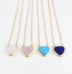 placas de amor Desconto Moda 4 cores banhado a ouro Pedra Natural coração amor branco Turquesa Colar para as mulheres