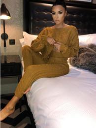 Pantalones de punto online-2018 otoño e invierno mujer conejo pelo mezcla punto manga batwing manga suéter + pantalones manga larga suéter 2 unids traje