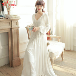 4344586bbc65 Pure Cotton V-neck High Waist Vintage Sleepwear Royal Princess Nightgown  White Nightdress With Beads Full Vestidos