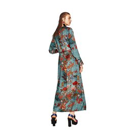 Wholesale Elegant Summer Cardigans - Fashion Women Floral Print Blouse Shirts Long Kimono robe Sleeve v neck with Sashes Sexy Cardigan boho Elegant Summer blusas new