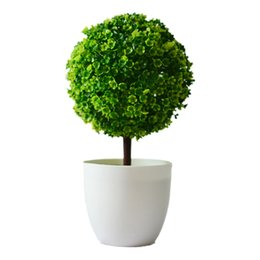 Wholesale Green Decorative Vases - Artificial plants ball bonsai can washes decorative green plants for home decoration( plants+vase) 4 Colors