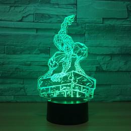 оптовая торговля фруктами Скидка Стоя Человек-Паук 3D оптическая иллюзия лампы Night Light DC 5 В USB питание AA батареи Оптовая Dropshipping Бесплатная доставка