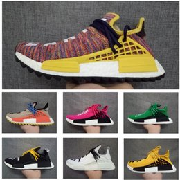 Wholesale Colorful Womens Shoes - New Arrival Human Race NMD Shoes Rainbow Colorful Pharrell Williams West Boost candy core Sport Sneakers Fashion Men Womens Running Shoes