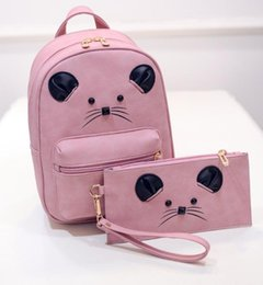 Wholesale Backpack Pictures - 2018 new handbag cartoon mouse Backpack Bag picture in Korean Students