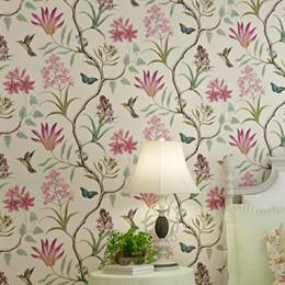 Vintager vogel tapete online-Weinlese-Land-Vögel und Blumen-elegante Wandverkleidungs-Bettwäsche-Raum-Wandbild-Tapete