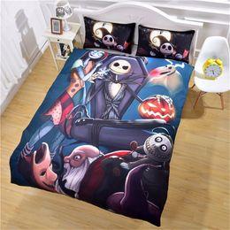 Set di biancheria da letto king online-New Design Nightmare Before Christmas Bedding Set lenzuola qualificate Unique Queen King Copripiumino con due federe