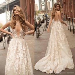 Wholesale Cheap Floral Summer Dresses - Beautiful A Line Illusion Berta Wedding Dresses Sexy Plugging 3D Floral Country Bohemian Bridal Gowns Cheap Backless Train robe de mariée