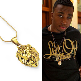 pendant design gold small Coupons - New Arrival Fashion Men Charm Small Lion Head Pendant Necklaces for 18k Gold Plated 60cm Long Chain Hip Hop Men Jewelry Design