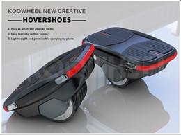 2018 NUEVA Koowheel Exclusiva Patente Hovershoes Patineta Eléctrica Zapatos Smart Single Wheel Self balanceo Hover Shoes Monopatín Potable desde fabricantes