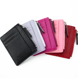 Wholesale Hot Pink Pillow Cases - 2017 HOT Selling! Mens Womens Mini ID card Holders Business Credit Card Holder PU leather Slim Bank Case Organizer Wallet