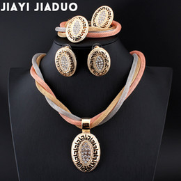 Wholesale Womens Bridal Sets - whole salejiayijiaduo African beads Bridal Crystal Jewelry Sets Necklace Set for Womens clothing accessories Gold color Conversations