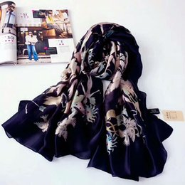 Wholesale Silk Square Neck Scarves - Wholesale-The famous style 100% silk scarves of woman and men pink black Neck print soft fashion Shawl women silk scarf square