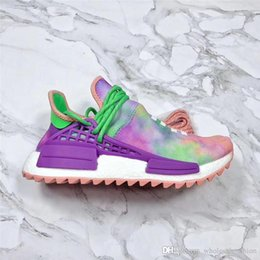 Wholesale Coral Cotton - Originals Pharrell X 2088ADIDAS NMD Hu Trail Holi Running Shoes For Men Womne Chalk Coral Flash Green-Lab Purple 2018 With Box Sports Shoes