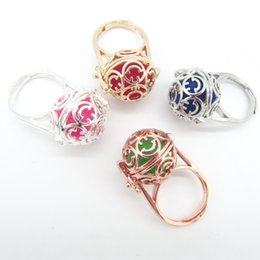 Wholesale Essentials Girls - whole sale2018 New Collection Hollowed Smile Face DIY Openable Locket Cage Felt Ball Fashion Essential Oil Diffuser Ring for Girls