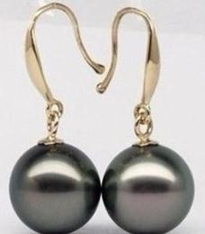 Deutschland Schöne 12mm Tahiti Schwarz Shell-Perlen-Ohrringe, Art und Weise Frauen Shell Perlenschmuck. Versorgung