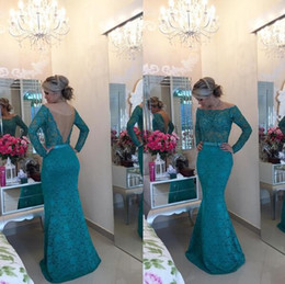 Wholesale Laced Backless Teal Gowns - Turquoise Lace Off The Shoulder Evening Gowns 2018 Teal Mermaid Open Back Long Sleeves Prom Dresses See Through China Vestido Social
