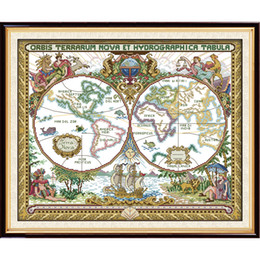 Paintings map world nz buy new paintings map world online from paintings map world nz the old world map cross stitch kits 11ct printed fabric 14ct gumiabroncs Image collections