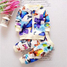 Wholesale cute fashion baby clothes - Baby Girls Colorful Butterfly Suit Kids Full Sleeves Jacket And Pants Clothes Suit Fashion Autumn Children Leisure Clothing Set