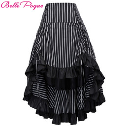 Belle Poque Steampunk Skirt Summer Autumn Women Sexy Striped Irregular  Ladies Long Ruffled Vintage Victorian Gothic Punk Skirts c0e5e2121