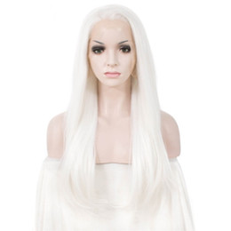 cosplay white straight long hair Promo Codes - Fashion 180% Density Straight White Synthetic Lace Front Wigs New Cosplay Wig For Women Heat Resistant Fiber Natural Lace Wig Long Hair