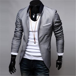 Wholesale fitted suits - New Fashion Trend Mens Suits Blazer Mens Casual Clothes Mens Jackets Coats Slim Fit Stylish Cool Gray Black Red Size M-3XL