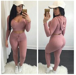 pink crop yoga pants Coupons - Eur Fashion Sexy Crop Top With Leggings Pants 2 Pcs\Set Solid Knitted High Hip Clothing Tracksuits