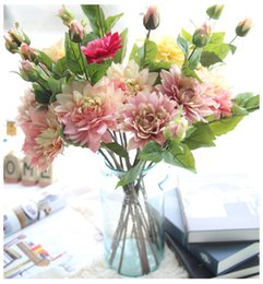 Wholesale black peony silk flowers - New Peony Fake Flower Silk Artificial Flowers for Home Office Wedding Party Simulation Centerpieces Decorative Flower