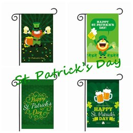 Wholesale Hat Beer - St. Patrick's Day Garden Flag Green Hat Shamrock Beer Gold Coin Hanging Polyester National Flags Easy To Carry Activity Banner