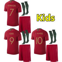 Wholesale Black J - 2018 PORTUGAL Kids RONALDO soccer jersey world cup ANDRE SILVA children football shirt J MOUTINHO Camisa de futebol QUARESMA baby maillot