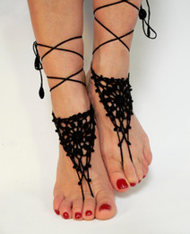Wholesale nude crochet - Crochet white barefoot sandals Nude shoes Foot jewelry Beach wear Yoga shoes Bridal anklet bridal beach accessories white lace sandals F003