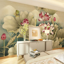 Wholesale mural prints - Seamless 3D Stereo TV Background Wallpaper Living Room Nonwovens Wallpaper Bedroom Wall Cloth Lotus Simple Mural