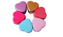 Caja de la joyería de la lata online-300 unids corazón colorido forma caja de la lata té caramelo caja de almacenamiento de joyas caja de regalo de Navidad caja del envío gratis