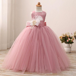 Wholesale corset feather wedding dresses - Little Girls Ball Gowns Flower Girls Dresses With Straps Feather Corset Back 2018 Pink Tulle Cheap Wedding Gowns Lace Ruched
