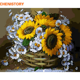 Wholesale Oil Acrylic Canvas - CHENISTORY Frameless Sunflowers Diy Oil Painting By Numbers Acrylic Picture Paint On Canvas For Unique Gift Home Decor 40x50cm