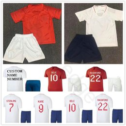 2019 camisa inglesa 2018 Crianças Inglês Camisas De Futebol DELE KANE  ESTERLING VARDY STURRIDGE RASHFORD HENDERSON 4e8980867588d