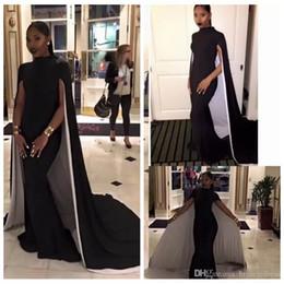 capas pretas elegantes Desconto Elegante Sereia Vestidos de Noite Plus Size Alta Pescoço Preto Formal Prom Vestidos Com Capes Saudita Árabe Vestido de Festa Africano