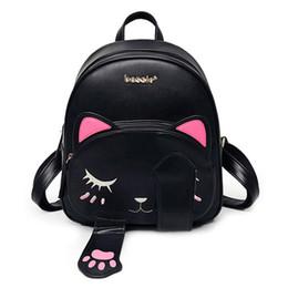 Wholesale leather student bags - Cat bag Students Pu backpack for teenagers girls Back Pack School Backpacks Funny Preppy Leather Shoulder Travel bag