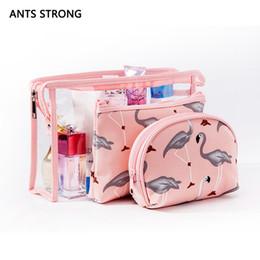 2019 faire du vin blanc ANTS STRONG 3 Pcs Flamingo Maquillage Sacs Ensemble / Transparent PVC Cosmetic Pochette Organisateur De Voyage Neceser Étanche Trousse De Toilette