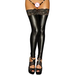 sexy black women pole dancing Promo Codes - sexy erotic lingerie hot thigh high stockings black lace leather tights women pole dance sexy stockings female club hosiery 2017