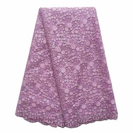 Wholesale Bridal Lace Yard - WorthSJLH 5 Yards Nigerian Bridal Lace Fabric Light Purple Pink Grey Latest African Laces 2018 Embroidery French Dubai Lace Fabrics