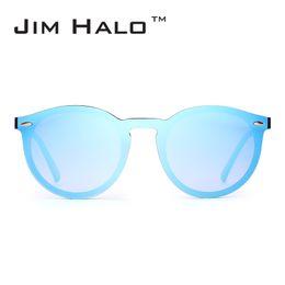 Wholesale round sunglasses trend - Jim Halo Mirrored Rimless Sunglasses Reflective Flash Lens One Piece Retro Vintage Round Sun Glasses Women Men Trend Eyewear Oculos Gafas