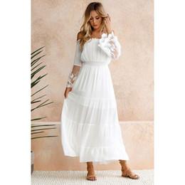 6f589b46fa53 2019 lunghi vestiti da estate bianchi del merletto del cotone Moonbiffy  Summer Sundress Long Women White