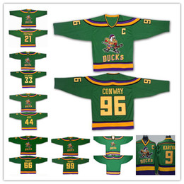 Wholesale Vintage Mighty Ducks Jersey - Mighty Ducks Of Anaheim Movie Jersey Greg Goldberg Charlie Conway Adam Banks Bombay Reed Kariya Vintage Hockey Jersey The Mighty Ducks Green