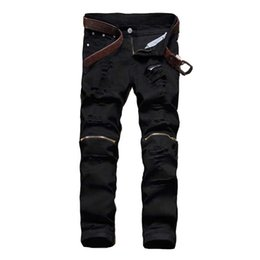 2018 Hommes denim stretch jeans Noir Zipper biker Jeans Marque Slim droite Détruire Ripped Pants bon marché Pour Homme Homme ? partir de fabricateur