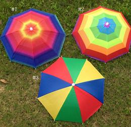 Wholesale Umbrella Bracket - Popular Outdoor Foldable Sun Rainbow Umbrella Hat Golf Fishing Camping Shade Beach Headwear Cap 31cm Bracket Umbrellas Adults Children