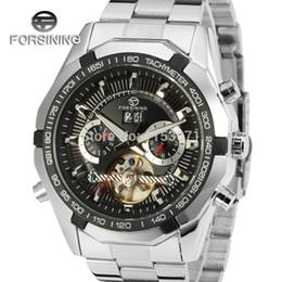 модные черные часы Скидка Forsining мужские часы новый высокого класса бренд класса люкс автоматический Браслет из нержавеющей стали мода наручные часы цвет черный FSG340M4T1