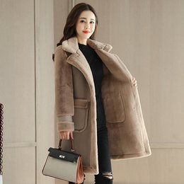 Wholesale winter wool coat buckles - Fashion wild autumn and winter new wild Slim comfort high-end wool stitching dark buckle solid color long coat